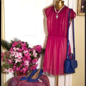 Angie Short Sheer Fuchsia Dress Size Small Beaded